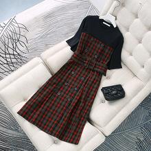 现货炫彩地素2019秋季新品格纹双排扣假两件短袖连衣裙女 3G3O401