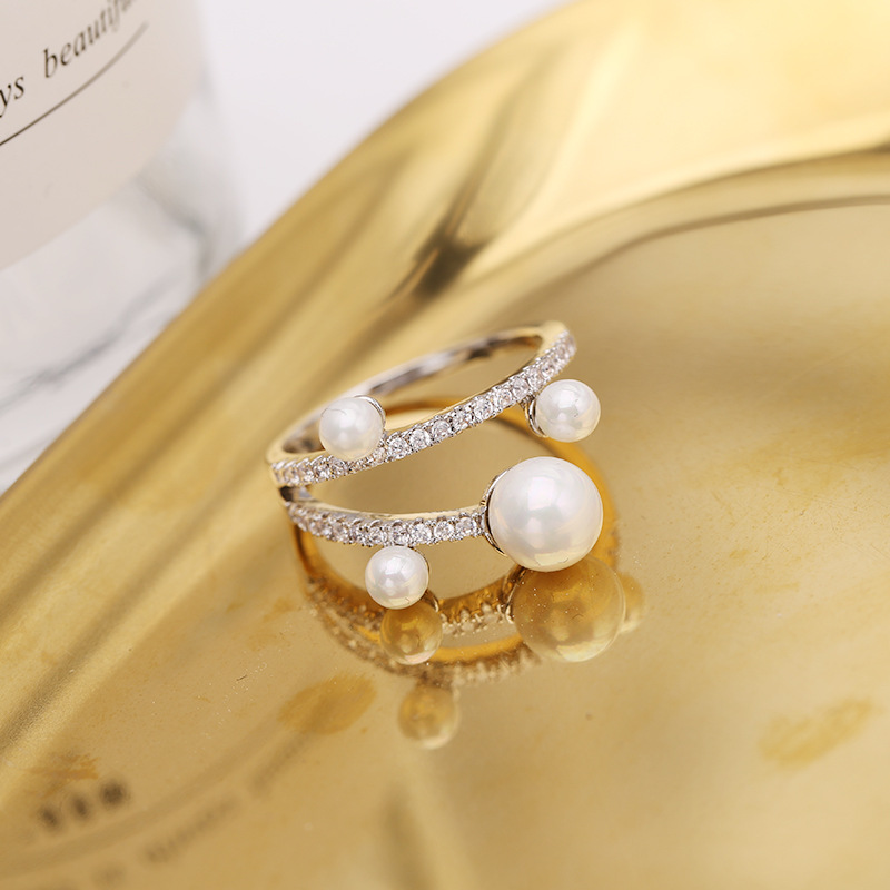 Hot Sale Copper Inlaid Zircon Pearl Ring Forefinger Simple Pearl Ring NHDO190047