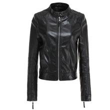 2020春秋新品OL女装皮衣PU皮衣女士修身机车夹克黑色外套一件代发