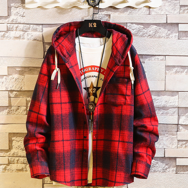 Autumn and winter new men's hooded Long Sleeve Plaid shirt plus size men's casual shirt college style student top