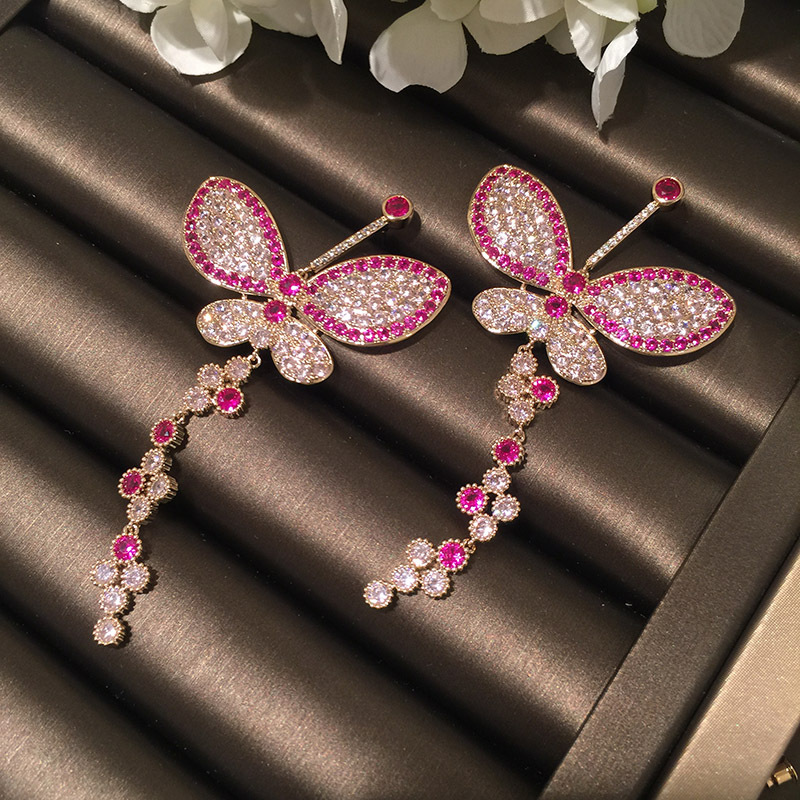 Fashion S925 Alloy Needle Color Big Butterfly Micro Zircon Earrings NHWK127195
