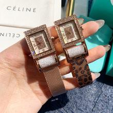 蒂米妮新款璀璨奢华手工镶钻女士方形手表潮流时尚经典耐用懒人表