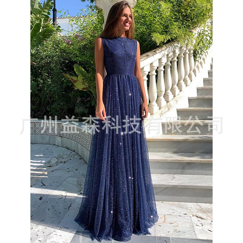 Cross border 2019 star European and American women's Dress Chiffon sleeveless perspective open back large swing dress