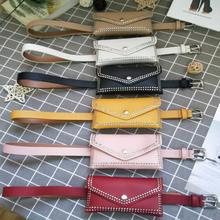韓版個性潮配腰帶鉚釘手機包女  跨境爆款朋克風真牛皮信封小腰包
