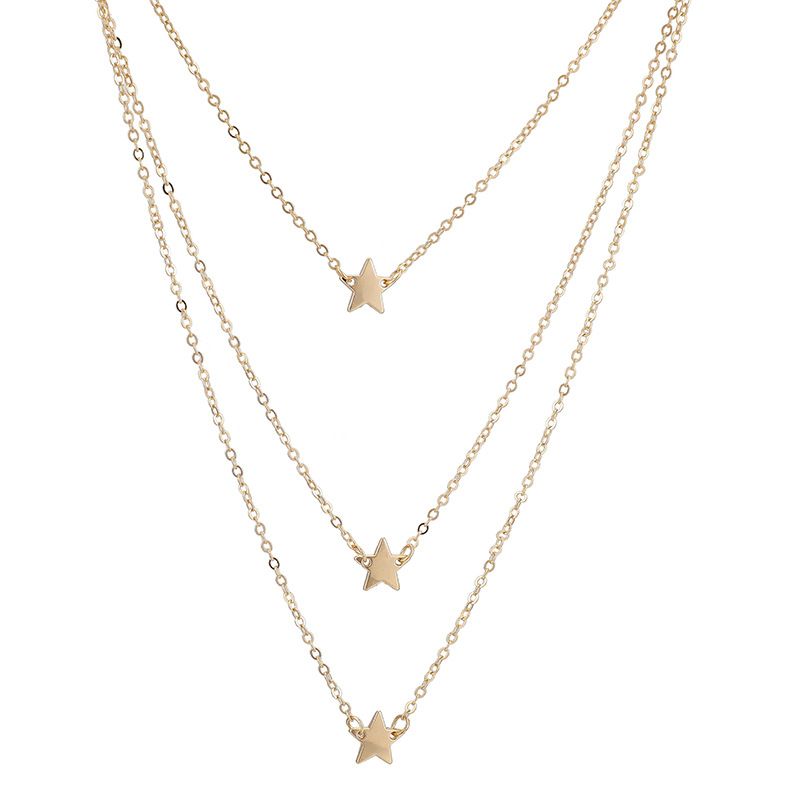 New fashion item simple alloy star long sweater chain pentagram necklace NHGY195402