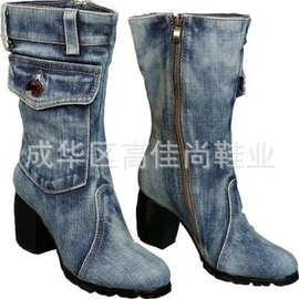 欧美帆鞋秋冬季高跟中筒靴牛仔布粗跟女靴马丁靴独立站大码40-43