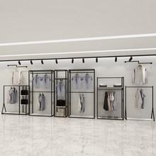 服装店展示架落地衣服式挂衣架简易组合?#20449;?#35013;双层店装修设计白色