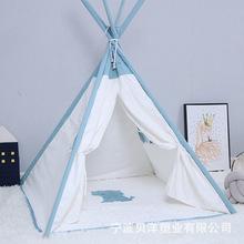 清仓INS儿童玩具帐篷过家家印第安帐篷五角室内游戏屋纯棉帆布