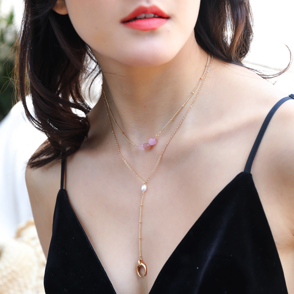 multi-layer necklace imitation pink natural stone natural freshwater pearl crescent bay necklace NHAN251881