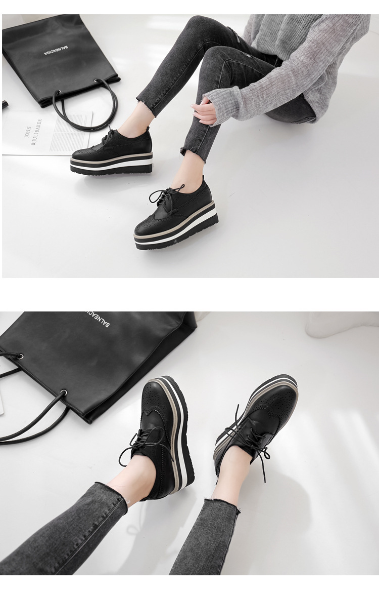 2019 autumn and winter slope with thick bottom muffin shoes square head lace up carved Brock single shoes women NHHU182147