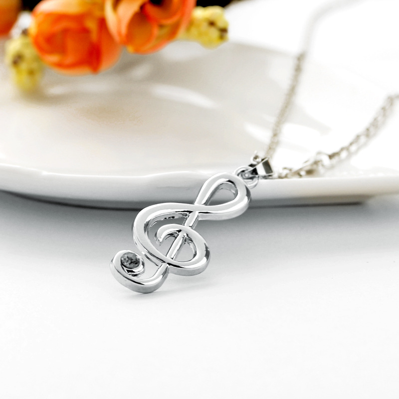 New fashion hollow musical note pendant necklace music symbol diamond pendant necklace wholesale NHMO209174