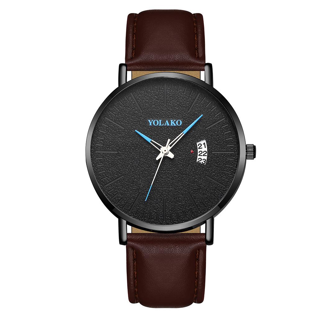 Fashion Simple Men's Belt Watch British Style Calendar Quartz Business Watch Wholesale NHSY202017