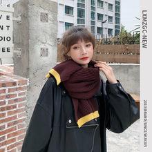 冬季新款拼色毛线围巾女士户外保暖防风针织围脖女生?#38556;?#29980;美围巾