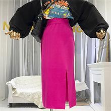 2019秋季新款糖果色开叉针织包臀半身裙女中长款?#20801;?#30334;搭高腰裙子