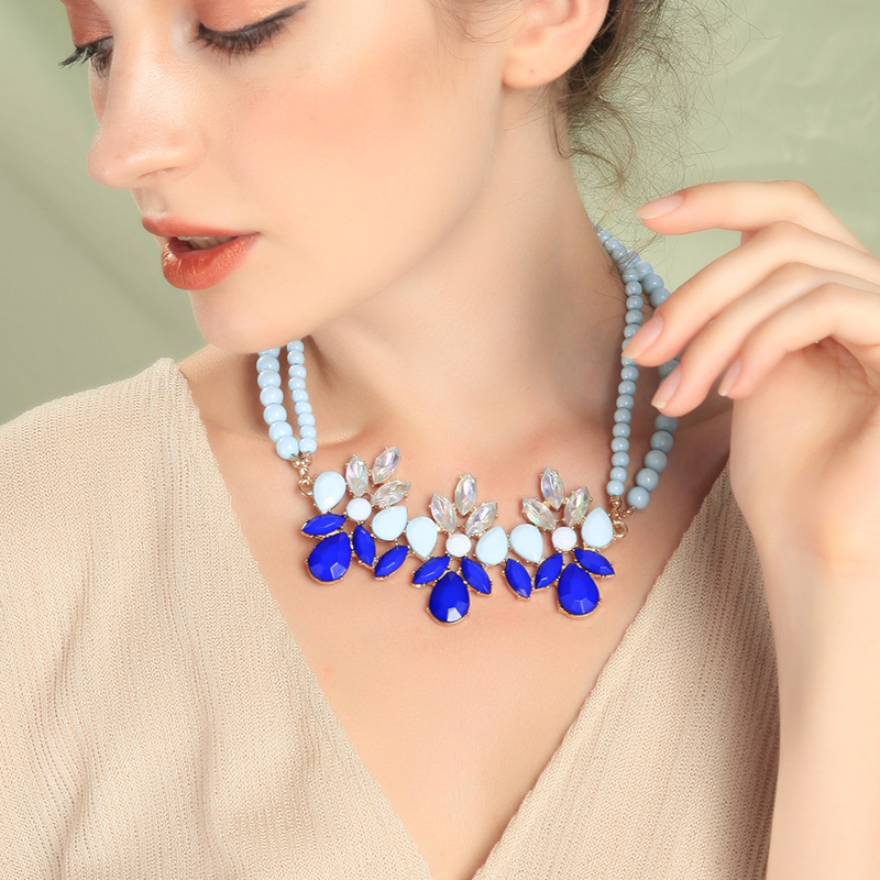 Fashion Jewelry Wholesale Green Beaded Sapphire Sweater Necklace wholesales fashion NHQD181763