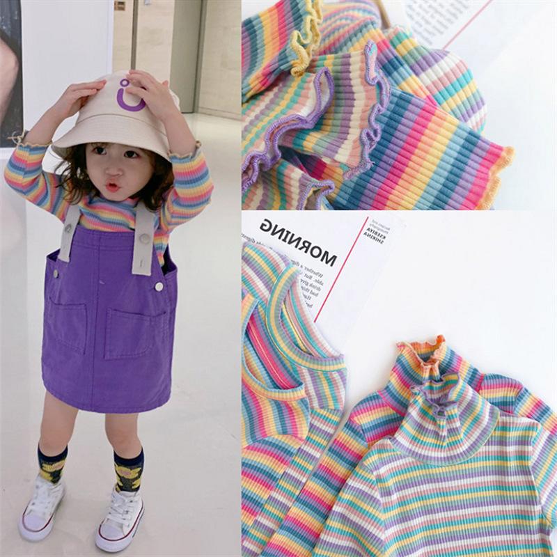 女童套装条纹彩虹T恤加背带裙20秋装新款外贸童装代发3-8岁