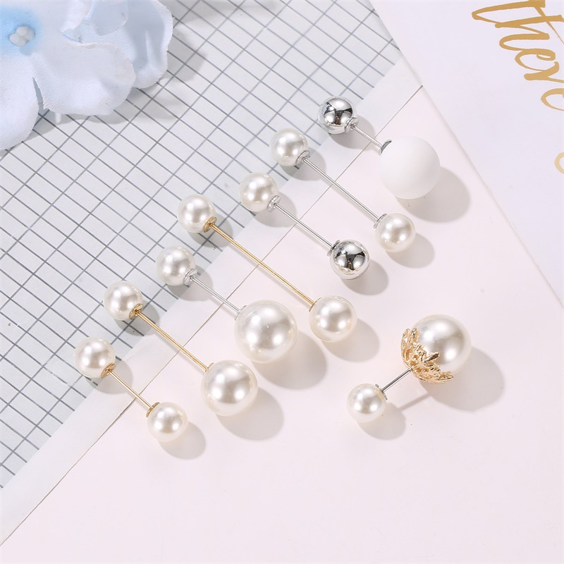 New double-headed pearl word pin simple anti-buffing brooch collar brooch fashion wild neckline pin shawl buckle NHDP183315