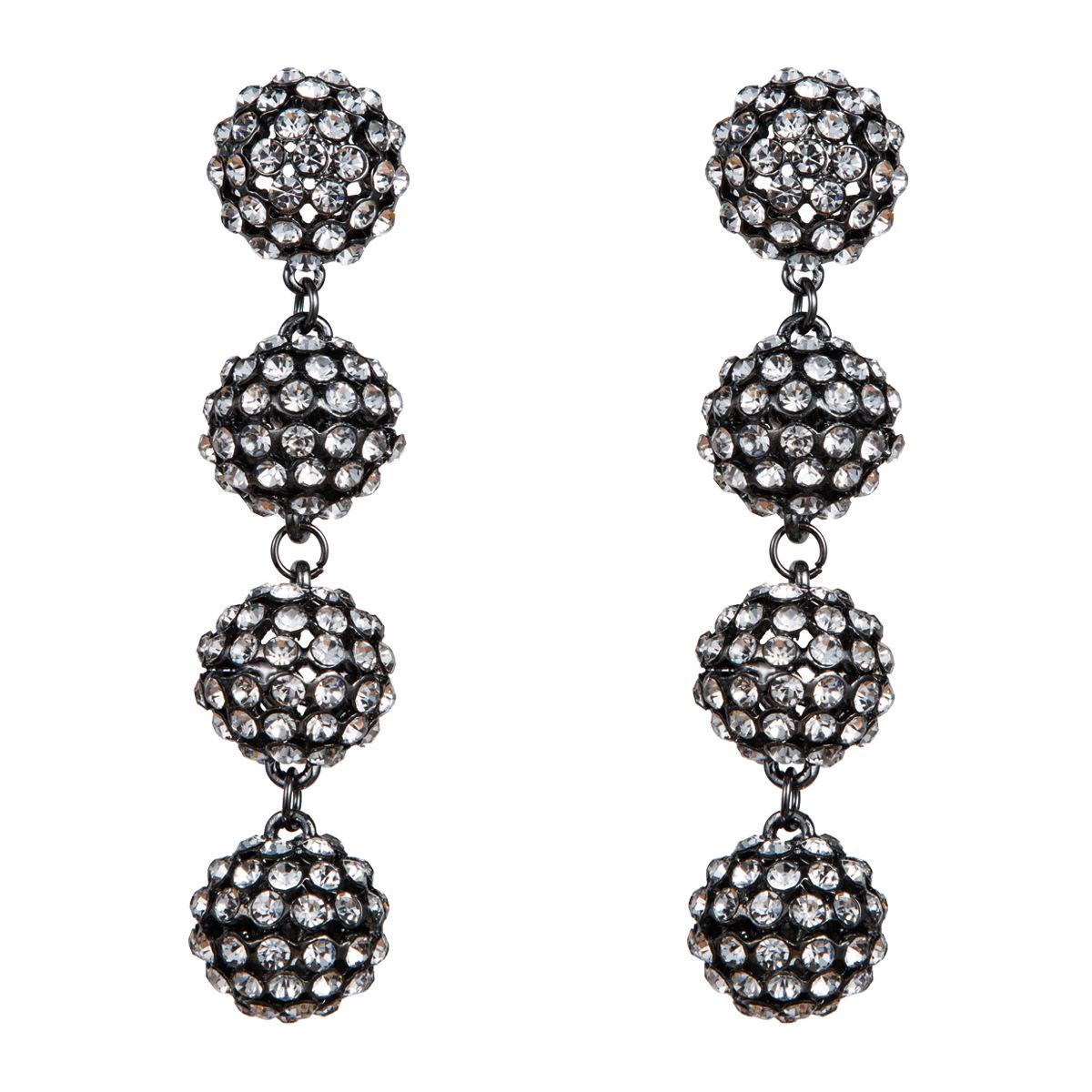 Fashion multi-layer acrylic full rhinestone ball earrings NHJE142058