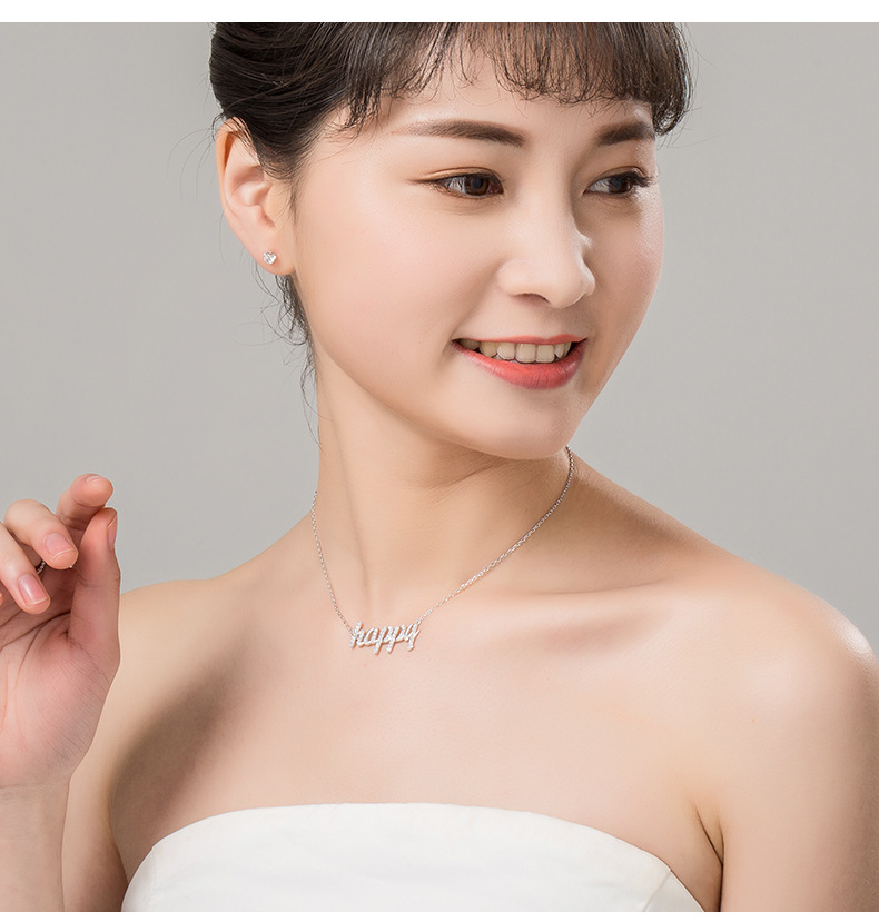 925 sterling silver English letter happy necklace NHLL152683
