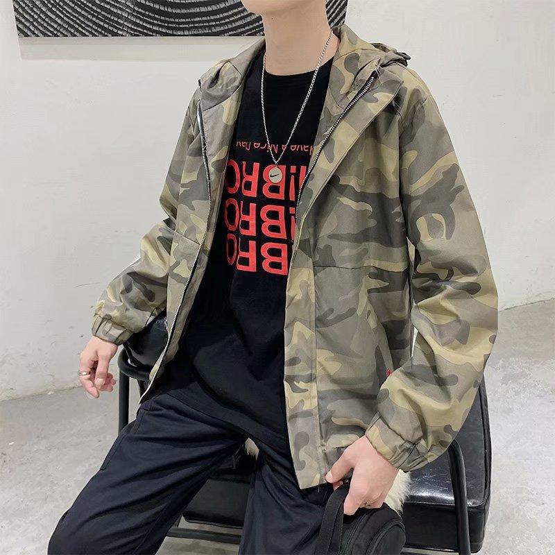实拍迷彩连帽外套秋潮牌男装上衣新款潮流韩版工装休闲男士夹克