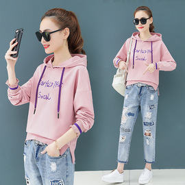 Long-sleeved women's new loose, skinny, hooded, letter embroidered fashion blouse