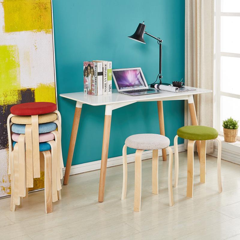 实木圆凳子时尚创意客厅小凳子家用皮革简约布艺餐桌板凳成人餐凳