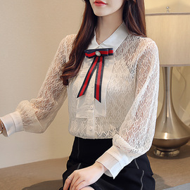 spring new bow long-sleeved lace shirt strap two-piece loose fashion shirt