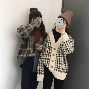 Spring and Autumn New Korean Knitwear Women Retro Loose Wild V-neck Houndstooth Large Size Cardigan Thick Sweater Jacket