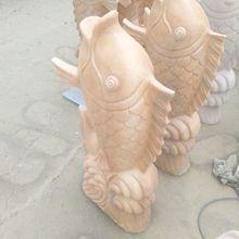 廠家定制石雕魚噴水魚晚霞紅石雕天然石雕刻庭院戶外擺件