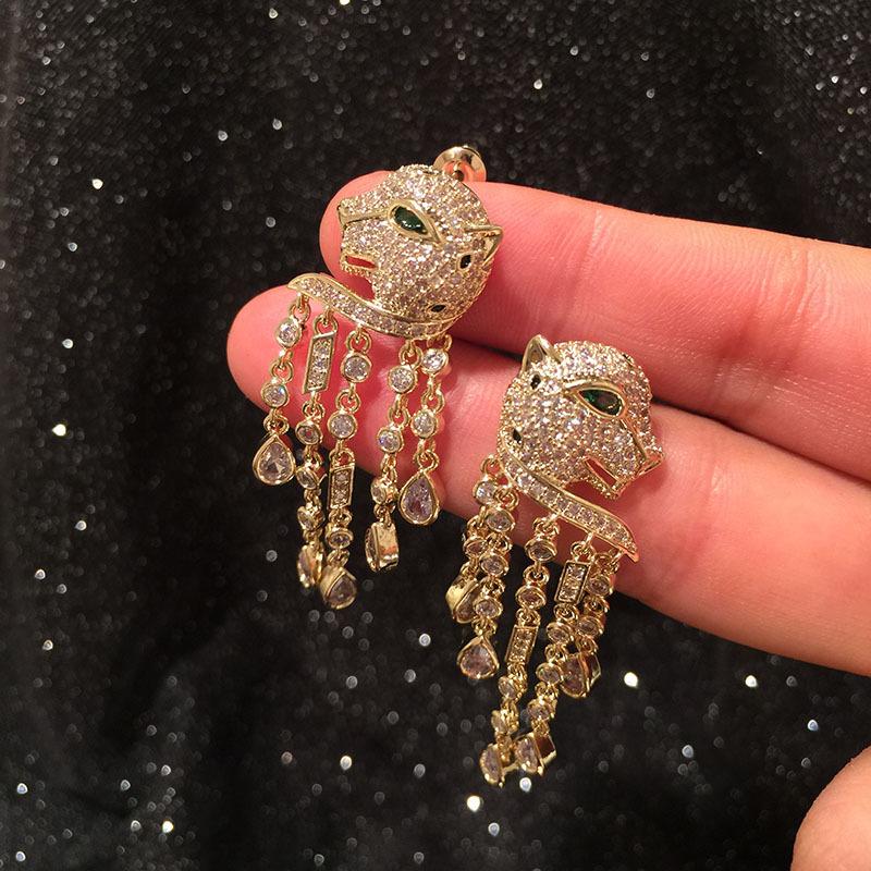 Fashion cartoon animal earrings retro long fringe earrings NHWK197601