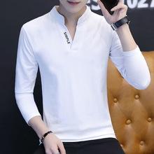 春季长袖T恤男韩版修身立领打底衫青年男装休闲体恤潮流印花秋衣