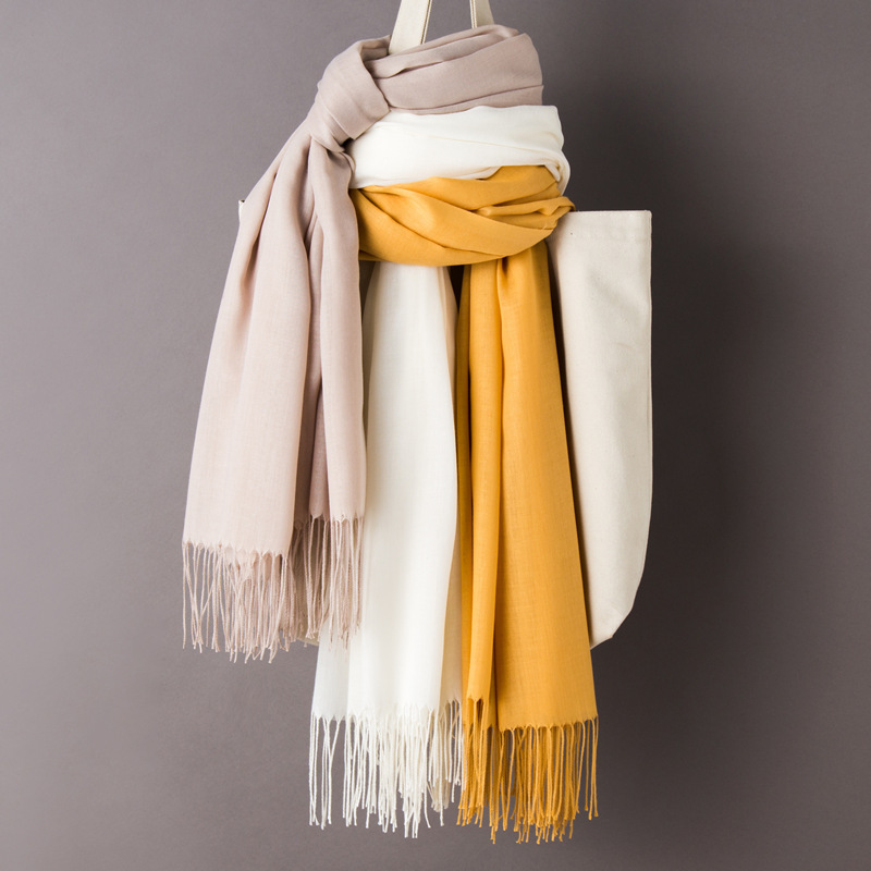 Thin Cashmere Scarf Fringed European and American Shawl Gift Scarf