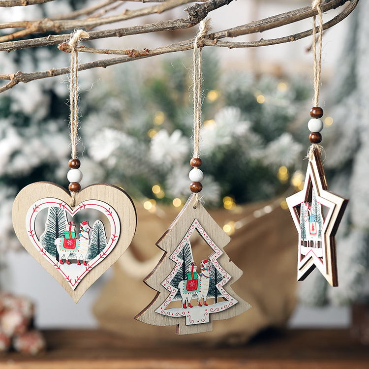 Christmas new wooden decorative alpaca hollow wooden pendant creative tree five-star hollow pendant NHHB182590