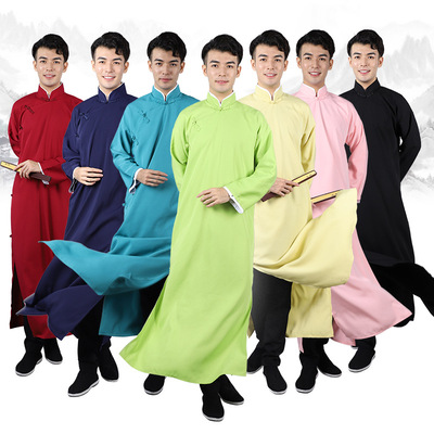 men chinese crosstalk stage performance Costume kungfu taichi long gown Chinese tang suit best man and best man performance robe