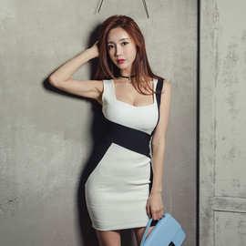 夏装2019韩版拼接撞色不规则连衣裙女无袖包臀性感低胸短裙