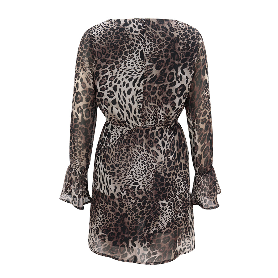 fashion V Ling waist long sleeve leopard print dress NSAL2863