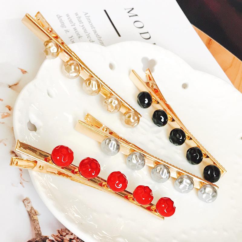 Korea new simple fashion pea imitation pearl hair clip side clip duckbill clip bangs clip wholesale nihaojewelry NHDQ223893
