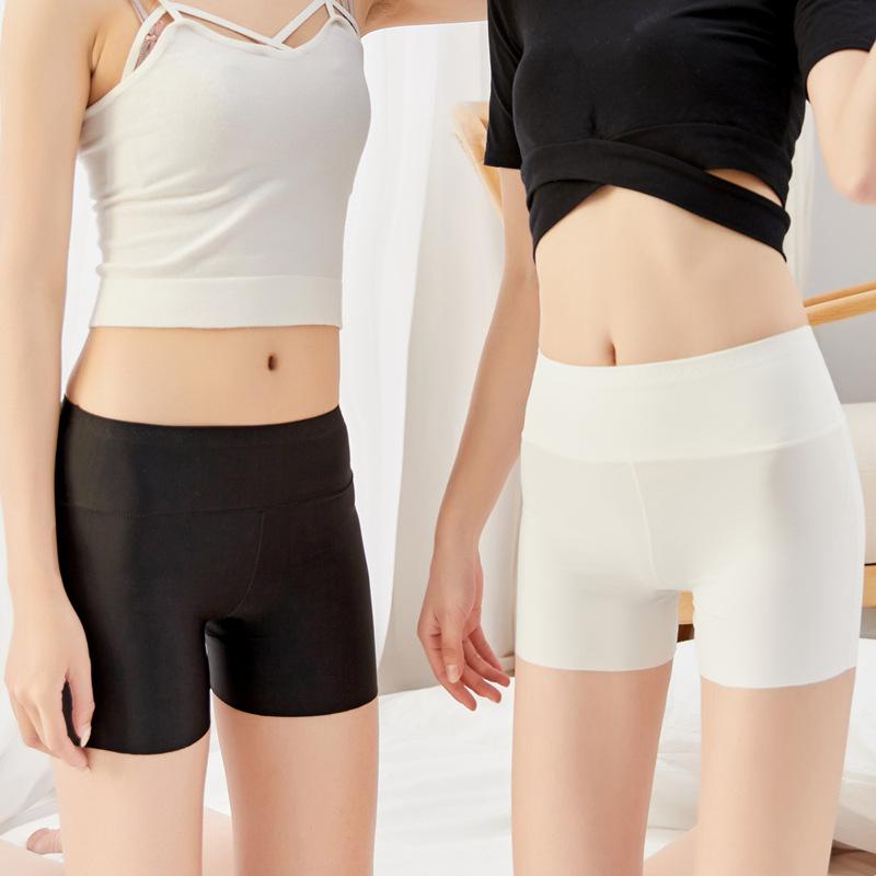 一片式無痕冰絲防走光安全褲 夏季高腰收腹三分打底褲平角內褲女