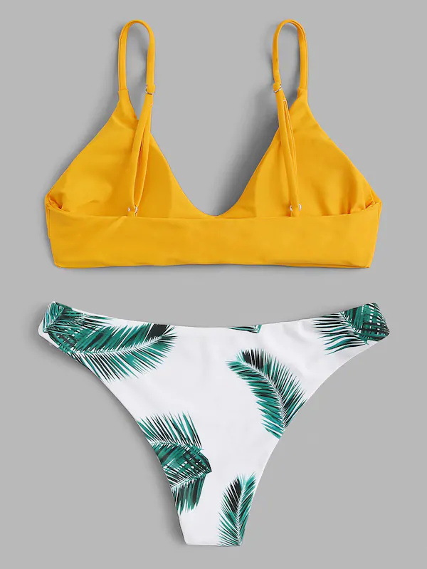 Sexy tropical leaves digital print small fresh split swimsuit NHHL130927