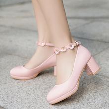新款甜美粗跟女士单鞋圆头防水台女花朵鞋子外贸热卖韩版