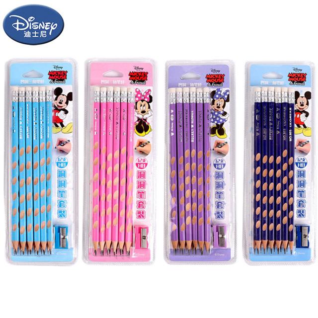 迪士尼洞洞笔小学生铅笔HB三角木杆12支装洞洞铅笔幼儿园礼物奖品