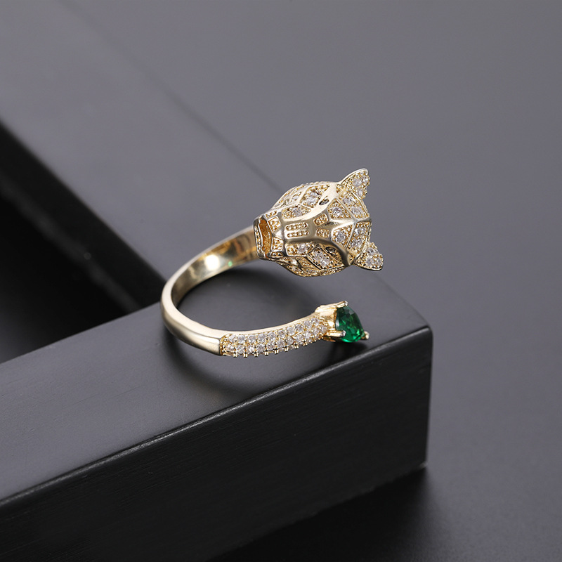 New accessories fashion leopard head ring couple models open ring NHQL172108