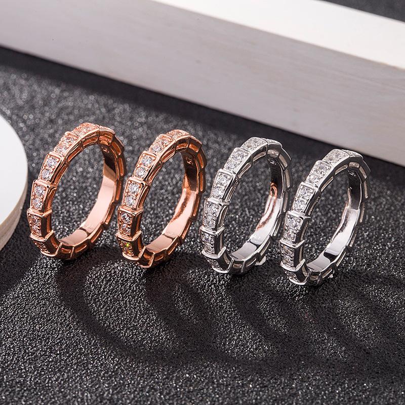老银匠S925纯银蛇形戒指女单排镶钻个性时尚欧美女式指环抖音同款