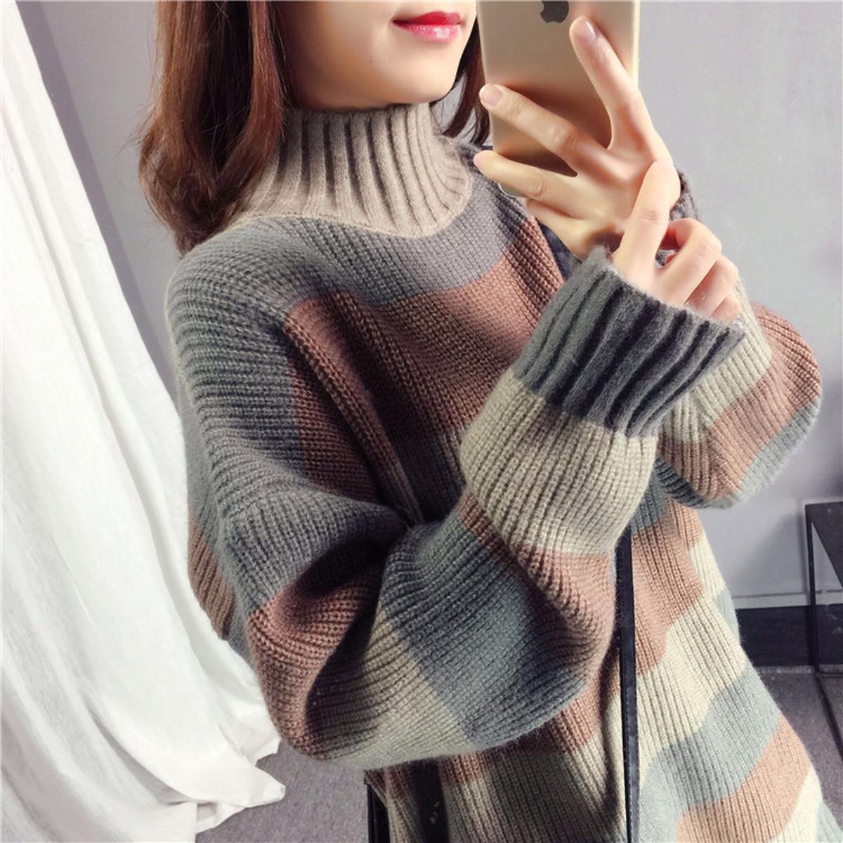 拼色半高领针织套头毛衣女2021冬季新款宽松慵懒风中长款宽条纹厚