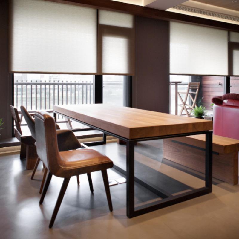 工业风格铁艺复古北欧实木办公桌椅组合餐桌会议长桌咖啡桌电脑桌