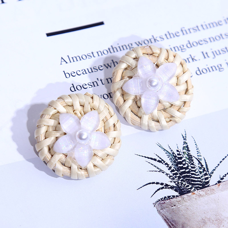 Korean cute geometric resin flower rattan earrings female round pearl acrylic earrings wholesale NHLA204631