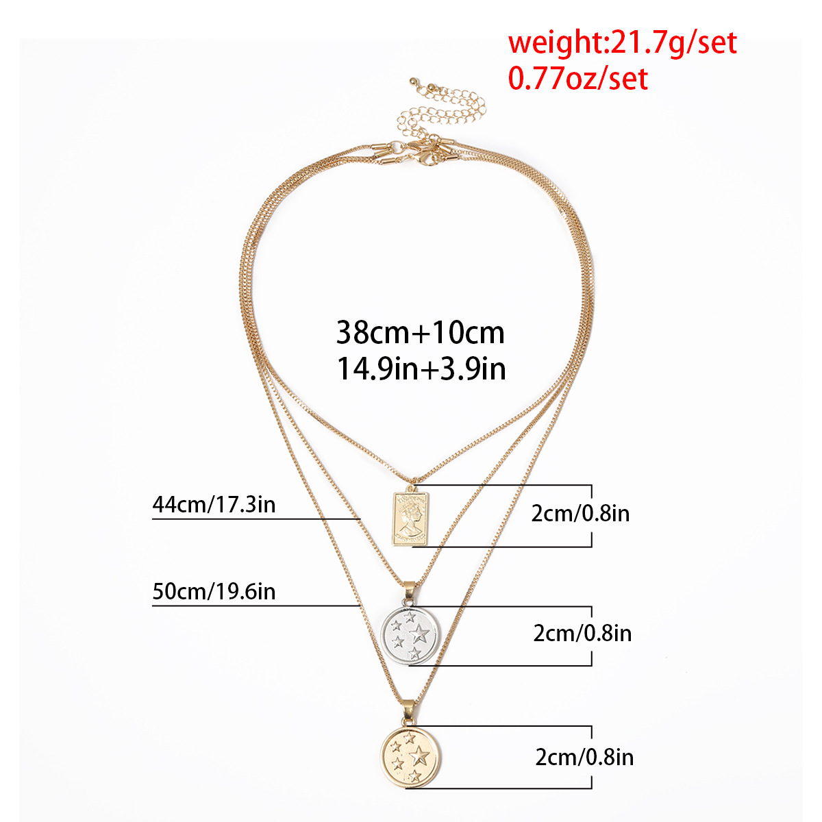 Jewelry portrait embossed necklace female multi-layer metal heart-shaped rose vintage necklace NHXR185499