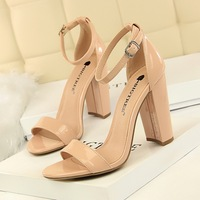 0509-1 European and American style women's shoes Summer high-heeled shoes fashion simple thick-heeled high-heeled sexy nightclub with sandals