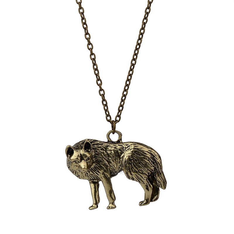wild animal wolf necklace long necklace retro wolf head simple pendant necklace accessories wholesale nihaojewelry NHCU232171