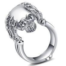 跨境新款 wish速卖通爆款戒指 个性骷髅头颅 镀18k金复古指环饰品